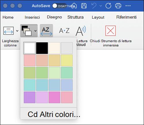 Opzioni colore pagina visualizzate per strumento di lettura immersiva in Word per Mac