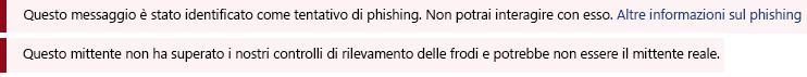 Screenshot che mostra un suggerimento per la sicurezza rosso.