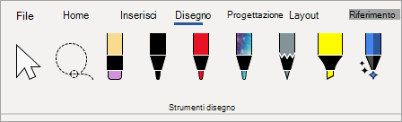 Penne degli strumenti di disegno Microsoft 365