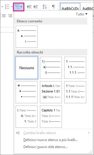 Stili di elenco a più livelli in Word 2010