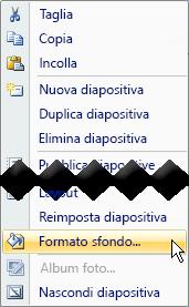 Fare clic con il pulsante destro del mouse sull'anteprima di una diapositiva per aggiungere un'immagine di sfondo alla diapositiva