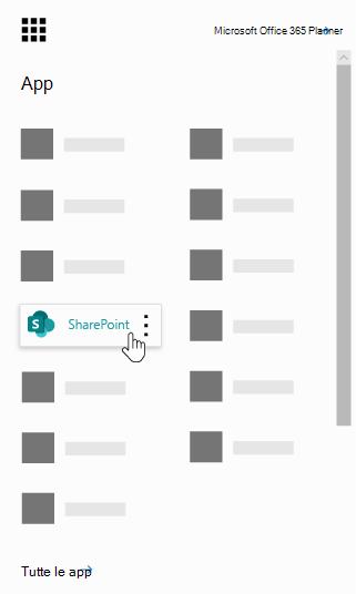 Icona di avvio delle app Office 365 con l'app SharePoint evidenziato