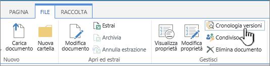 Scheda File con l'opzione Cronologia versioni evidenziata.