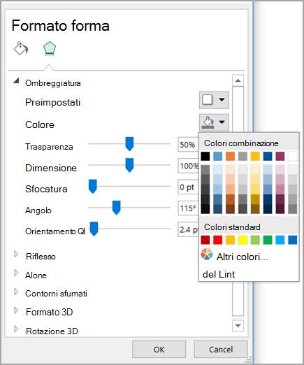 Modificare il colore dell'ombreggiatura