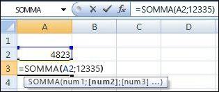 Utilizzo della funzione SOMMA per sommare una cella e un valore