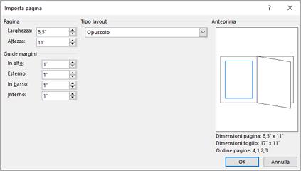 Tipo di layout della finestra di dialogo Imposta pagina