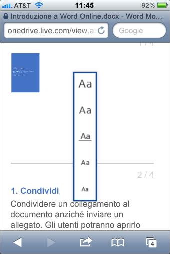 Scegliere una dimensione di carattere nel visualizzatore per dispositivi mobili per Word