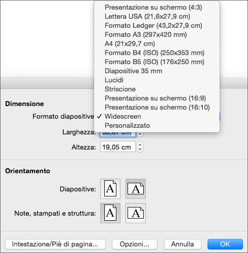 Casella Imposta pagina con le opzioni per le dimensioni delle diapositive