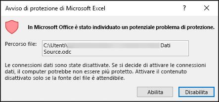 Nota sulla sicurezza di Microsoft Excel: indica che Excel ha identificato un potenziale problema di sicurezza. Scegliere Enable se si considera attendibile il percorso del file di origine, se non lo si desidera.