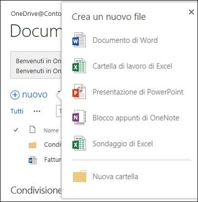 Opzioni di Office Online accessibili dal pulsante Nuovo in OneDrive for Business