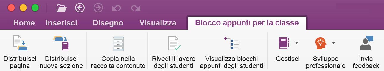 Strumenti di gestione dei blocchi appunti della classe sulla barra multifunzione