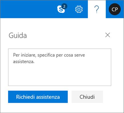 Una schermata mostra la finestra di dialogo della Guida nel punto in cui è possibile immettere informazioni su un problema e quindi selezionare il pulsante Guida Get.