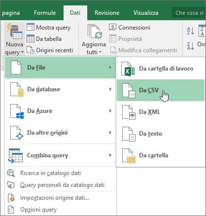 Nella scheda Dati selezionare Nuova Query, selezionare Da file e quindi scegliere Da CSV
