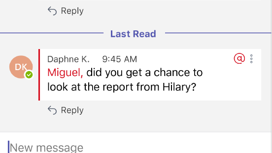 Questa schermata mostra un nuovo messaggio a una persona @menzionata in una conversazione.