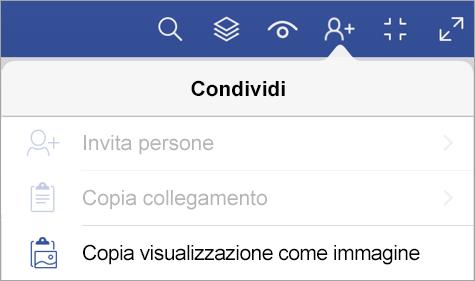 Opzioni di condivisione del Visualizzatore di Visio per iPad