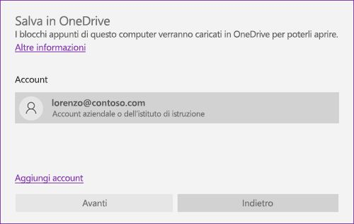 Screenshot del prompt Salva in OneDrive di OneNote