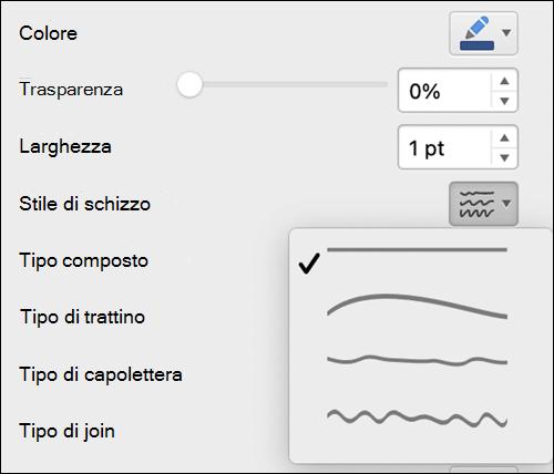 Opzioni di formato linea in Mac con lo stile Mano libera selezionato