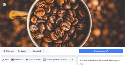 Icona di Microsoft Bookings dopo la connessione alla pagina di Facebook.