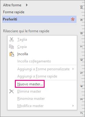 Fare clic con il pulsante destro del mouse nella finestra Forme, sotto l'elenco degli stencil, e scegliere Nuovo master.