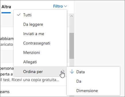 Filtro della posta elettronica in Outlook sul Web