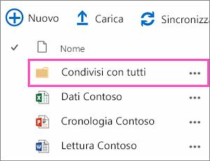 Cartella Condivisi con tutti in OneDrive for Business