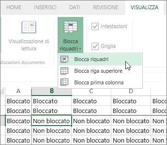 Scheda Visualizza, menu Blocca riquadri, comando Blocca riquadri