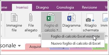 Screenshot del pulsante Inserisci foglio di calcolo in OneNote 2016.