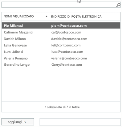 Screenshot: Digitare per cercare o selezionare un utente dall'elenco