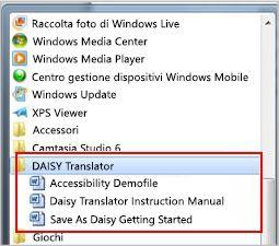 Menu Start con visualizzati i file del componente aggiuntivo Daisy dopo l'installazione