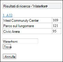 Risultati della ricerca nel visualizzatore di Excel Mobile
