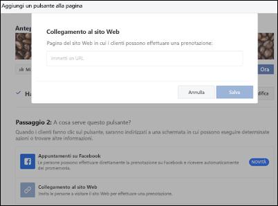 Screenshot: incollare l'URL della pagina di prenotazione