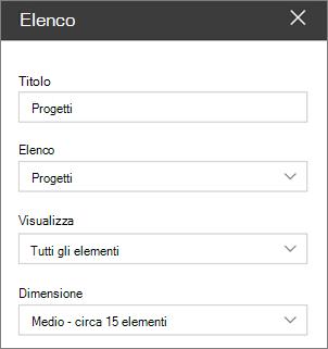 Impostazioni della web part elenco