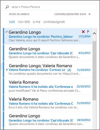 Elenco di messaggi di Outlook