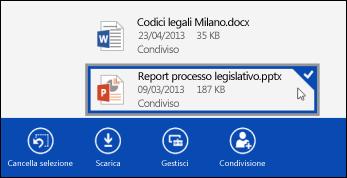 File selezionato in OneDrive for Business