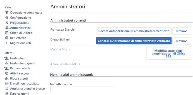 Schermata che mostra l'elenco di amministratori