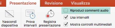 Deselezionare la casella di controllo riProduci commenti nella scheda presentazione