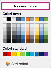 Opzioni dei colori di Sfondo con l'opzione Nessun colore evidenziata.