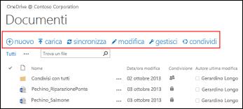Usare la barra dei comandi rapidi in Office 365 per avviare attività in OneDrive for Business o nella raccolta documenti del sito del team di SharePoint Online.