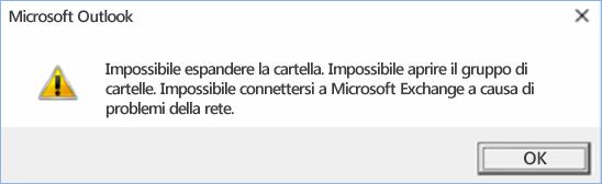 Errore di Outlook 2016 - Non è possibile espandere la cartella