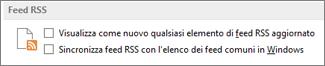 Sezione Feed RSS della finestra di dialogo Opzioni