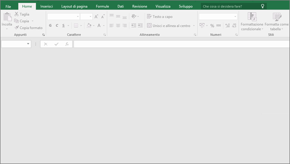 Finestra di Excel vuota con pulsanti non disponibili, nessuna cartella di lavoro aperta.