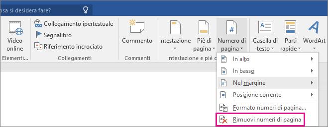 L'opzione Rimuovi numeri di pagina evidenziata nella scheda Inserisci.