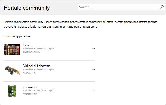 Esempio di un portale community