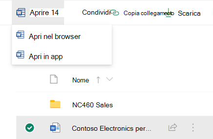 È possibile aprire un file in un browser o in un'app desktop di Office.