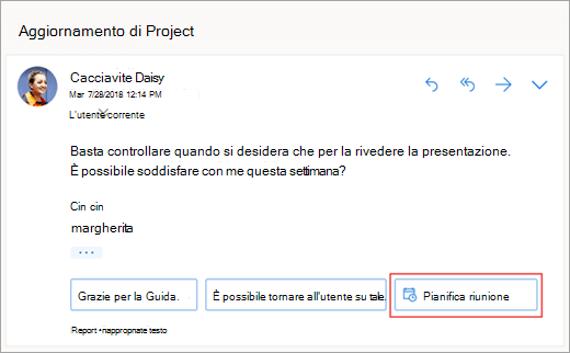 Screenshot della risposta suggerita per pianificare una riunione