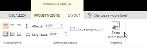 Screenshot che mostra la scheda Layout di Strumenti tabella con il cursore posizionato sull'opzione Testo alternativo.