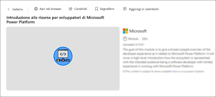 Screenshot dei dettagli del contenuto, tra cui titolo, durata e descrizione