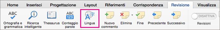 Nella scheda Revisione fare clic su Lingua per impostare la lingua del testo selezionato.