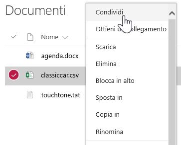 Menu di scelta rapida del documento di SharePoint Online con l'opzione Condividi evidenziata