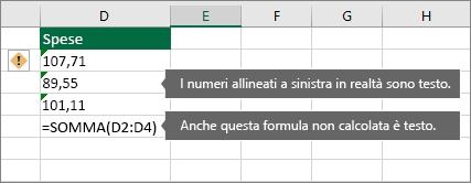 Celle con numeri memorizzati come testo con triangoli verdi